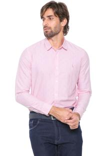 Camisa Reserva Reta Padronagem Rosa