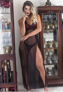 Camisola Longa Transparente Com Renda 2014 Garota Veneno
