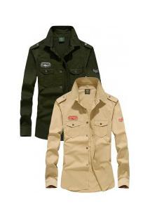 Kit 2 Camisas Slim Fit Army London - Khaki E Verde Militar