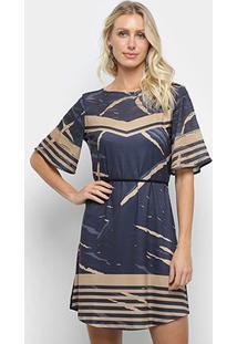 Vestido T-Shirt Morena Rosa Dress Com Silk Feminina - Feminino-Preto+Caramelo