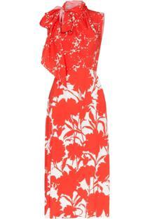 Prada Vestido Midi Com Estampa Floral - Vermelho