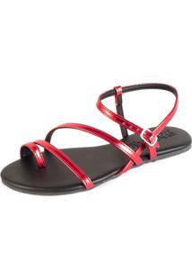 Sandalia Rasteira Mercedita Shoes Tiras Metalizadas Vermelha - Tricae