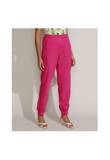 Calça Feminina Mindset Jogger Cintura Alta Com Bolsos Rosa Escuro