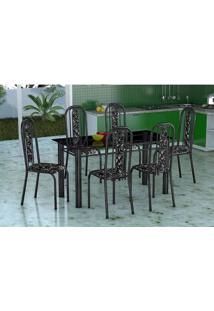 Conjunto Mesa Vidro Granada 6 Cadeiras Tubular Preto Prata Fabone - Assento Preto Com Floral