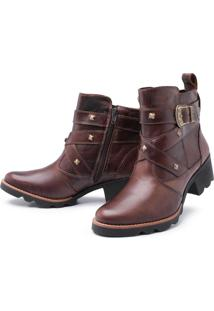 Bota Pessoni Boots & Shoes Couro Cano Curto Pessoni Boots E Shoes Chocolate Marrom - Kanui