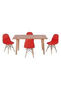 Conjunto Mesa De Jantar Em Madeira 150X80 Vértice + 4 Cadeiras Botonê - Vermelho