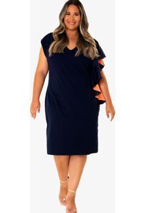 Vestido Midi Marcela Plus Size Azul Marinho Rodrigo Moura - Azul Marinho - Feminino - Poliã©Ster - Dafiti