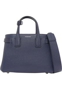 Burberry The Small Banner In Leather And Vintage Check - Azul