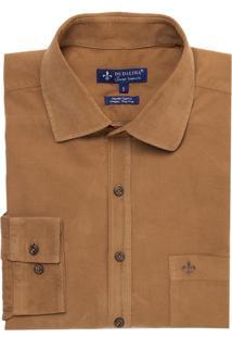 Camisa Dudalina Fio Corduroy Masculina (Marrom Medio, 7)
