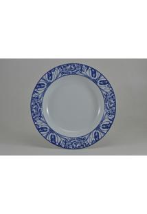 Conjunto De Pratos Fundos Porcelana Schmidt 06 Peças - Dec. Azulejo