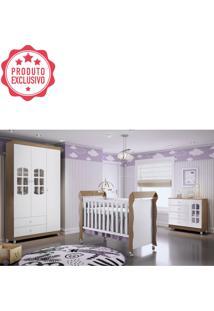 Dormitório Gabi Guarda Roupa 3 Portas Cômoda Berço Mirelle Amadeirado Carolina Baby