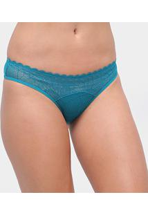 Calcinha Tanga Com Renda Liz 50903 - Feminino-Azul Turquesa