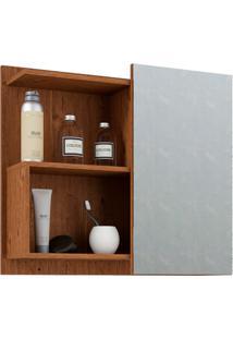 Espelheira Suspensa Para Banheiro Lis 54X60Cm Amêndoa