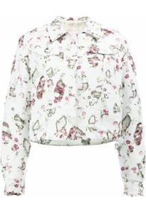 Giambattista Valli Jaqueta De Seda Com Estampa Floral - Branco