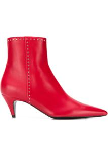 Saint Laurent Ankle Boot Com Tachas - Vermelho
