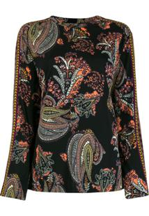 Etro Long Sleeved Paisley Print Blouse - Preto