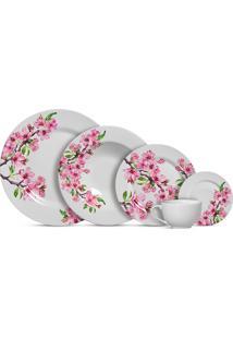 Aparelho De Jantar 20 Peças Cerejeira - Alleanza - Branco / Rosa