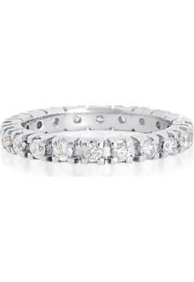 Aliança Inteira De Ouro Branco 18K Com Diamantes-Coleção True