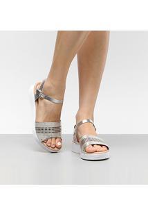 Sandália Ramarim Flatform Metalizada Laser Feminina - Feminino-Prata