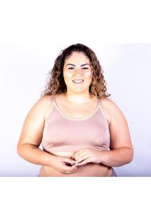 Sutiã Top Plus Size Gatria Reforçado Satin Feminino - Feminino-Bege