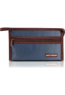 Necessaire Envelope Jacki Design Microfibra - Unissex-Azul Escuro
