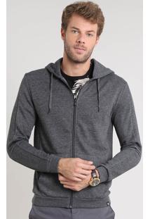 Blusão Masculino Slim Fit Em Moletom Com Recortes E Capuz Cinza Mescla Escuro
