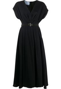 Prada Vestido Com Cinto - Preto
