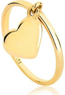 Anel De Prata 925 Banho Dourado Aro Com Pingente Coração-For Me