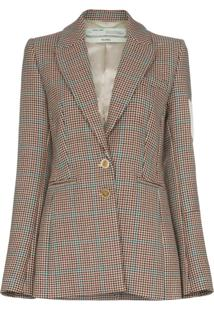 Off-White Blazer De Tweed Com Patch - Marrom