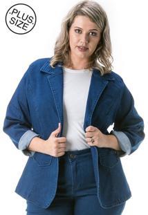 Blazer Jeans Plus Size - Confidencial Extra Com Gola Azul Marinho