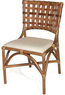 Cadeira Lynn Assento Cor Branco Com Base Madeira Apui - 44719 - Sun House