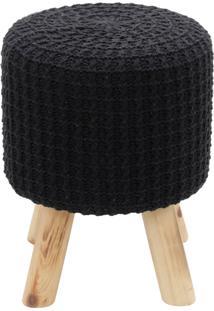 Puff Madeira Algodao Poliester Crochett 4 Feet Preto 30X38X30Cm Urban