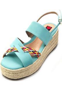Avarca Espadrille Love Shoes Anabela Plataforma Corda Trança Azul