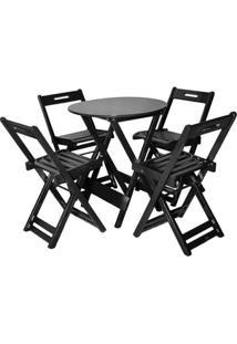 Jogo De Mesa Bar Tampo Redondo 70X70 Com 4 Cadeiras Dobrável Tabaco - Btb Móveis