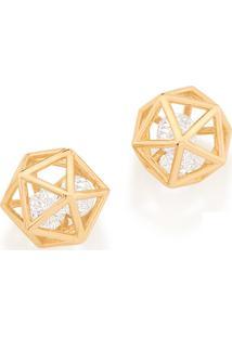 Brinco Bijoulux Dourado Geométrico Com Zircônias Rommanel