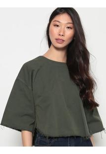 Blusa Em Sarja Com ZãPer-Verde Militarosklen