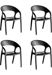 Kit 4 Cadeiras Glass Plus Em Polipropileno Kappesberg Preto