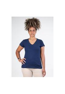 Camiseta Meio Swag Básica Gola V Azul Marinho
