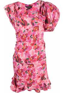 Isabel Marant Vestido Manadio Assimétrico Com Estampa Floral - Vermelho
