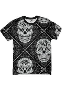Camiseta Bsc Caveira Floral Full Print Masculina - Masculino