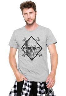 Camiseta Fiveblu Manga Curta Slim Estampada Cinza