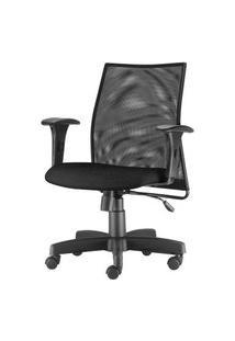 Cadeira Liss Com Bracos Assento Courino Base Metalica Preta - 54656 Preto