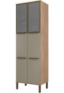 Paneleiro Modulado 6 Portas 2 Portas De Vidro 5 Prateleiras Verace Siena Móveis Havana/Taupe
