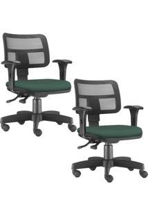 Kit 02 Cadeiras Giratórias Executivas Lyam Decor Zip Verde Musgo - Tricae