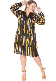 Vestido Estampado Manga Longa Plus Size