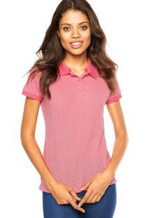Camisa Pólo Liso Rosa feminina  7ee46f65db488