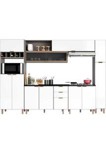 Cozinha Completa 11 Portas E 3 Gavetas Flair-Poliman - Fumê / Branco