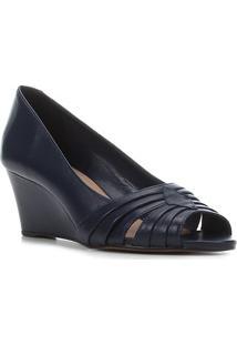 Peep Toe Couro Shoestock Anabela Drapeado Salto Médio - Feminino-Marinho