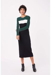 Vestido Tricolor Verde/Off/Preto - Pp