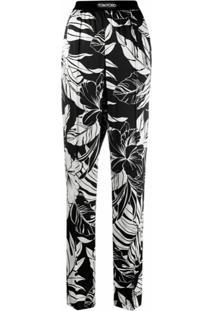 Tom Ford Calça Com Cós Elástico E Estampa De Folhas - Preto